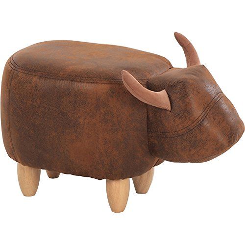 OLizee Decorative Buffalo Ottoman Footstool Cute Animal Upholstered Stool for Kids Wooden Footrest Accent Furniture, Brown (Upholstered Sale Footstools For)