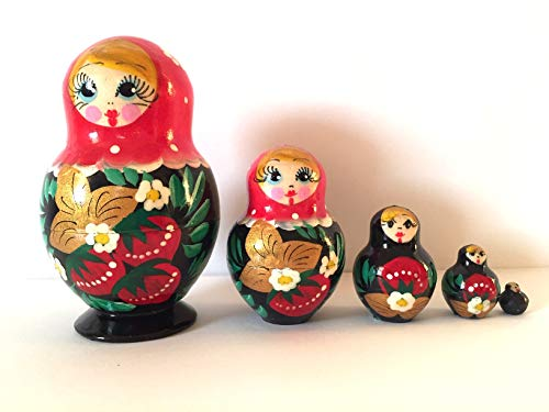 Russian Hand Painted Nesting Doll Matryoshka 5 Piece Set - Made in Russia