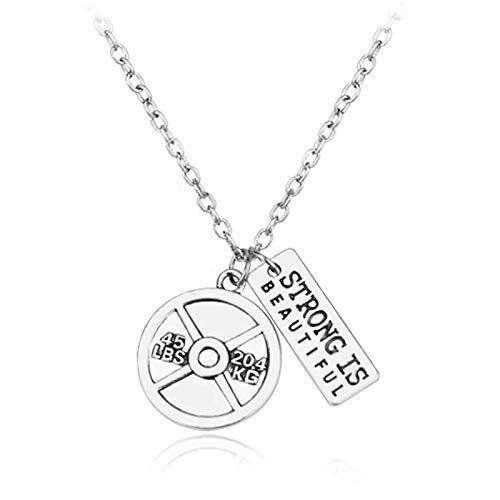 (ACCTSY Weight Car Steering Wheel Creative Force Fitness Necklace for Boyfriend Barbell Dumbbell Bodybuilding Pendant 50Cm Rhodium Plated)