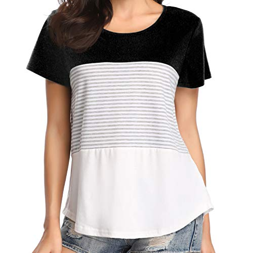 (Chalier Womens Short Sleeve Round Neck Triple Color Block Striped Tee Shirts Casual Blouse Tops )