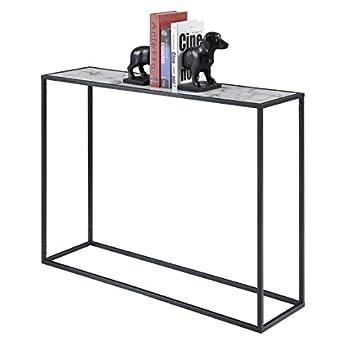 Convenience Concepts 413499BL Gold Coast Faux Marble Console Table, Faux Marble / Black