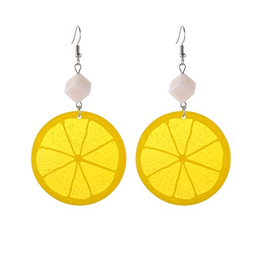 IUTING Fruit Lemon Earring Fashion Sweet Orange Drop Earrings Women & Girl Fashionable Harajuku Dangle Earring ()