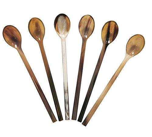 Marycrafts Set of 6 Long Light Shade Buffalo Horn Caviar Spoons -