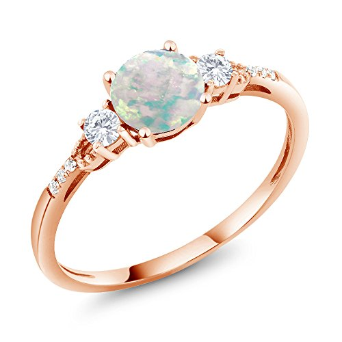 10K Rose Gold Cabochon White Simulated Opal White Created Sapphire Women's Ring (0.89 Ct Available 5,6,7,8,9) - Cabochon Gold Ring