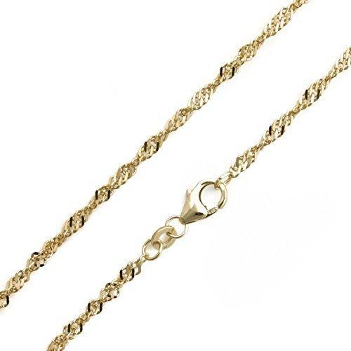 Collier en mailles singapour en or 14 carats 585/bracelet largeur 2,4 mm longueur 19 cm goldarmband neuf