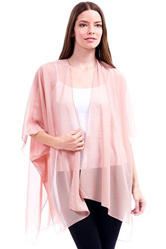Modern Kiwi Solid Sheer Chiffon Kimono Cardigan Blush One Size - Chiffon Sheer Blush