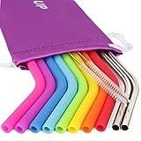 REGULAR SIZE Reusable Straws for 30 oz Tumbler & Stainless Steel Straws Bundle - 8 Silicone Straws + 2 Brushes + 2 Metal Straws - Reusable Straws Extra Long + 1 Storage Pouch