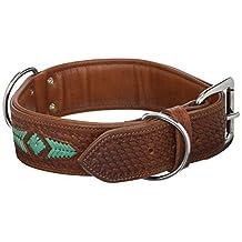 """Angel Pet Supplies 11069 Genuine Dog collar. 26"""" X 2"""", Western Tooled Brown and Turquoise Rawhide Weaving Argentinean cowhide. Elite (Sierra) Necks: 20""""-24"""""""