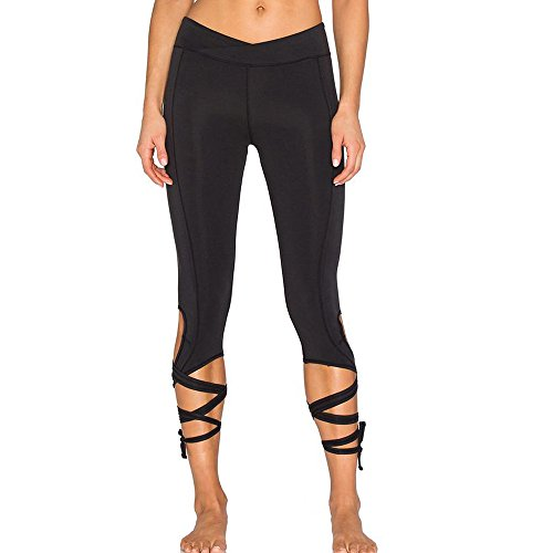 CROSS1946 Sexy Women's Yoga Soft Fitness Cropped Pants Cut Out Tie Cuff Leggings Active Tights Capris (Fold Over Cropped Pant)
