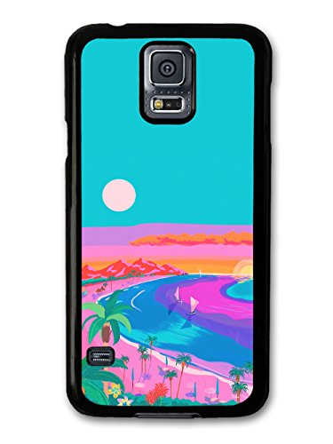 Beach Summer Sunset Palm Trees Illustration Blue and Pink Colours coque pour Samsung Galaxy S5