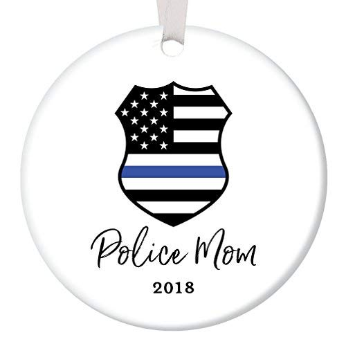 Iliogine Police Mom Christmas Ornament 2018 Tree Decoration Porcelain Keepsake Present Female Officer Mother Mommy Mama from Children Son Daughter Flat Ceramic Collectible