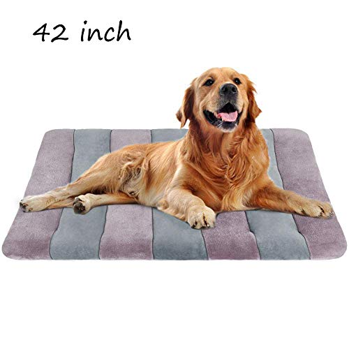 Dog Bed Large Crate Mat 42 in Anti-Slip Washable Soft Mattress Kennel Pads (Plush Crate Mat)