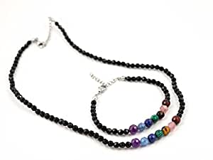 NEW * 2 PC SET: Healing 7 Chakra Faceted REAL Gemstone Necklace & Bracelet for Women | Gift Box Included | 2 DESIGN OPTIONS