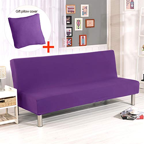 Hengwei Armless Sofa Slipcover Stretch Sofa Bed Cover Protector Elastic Spandex Modern Simple Folding Couch Sofa Shield Futon Cover (Purple)