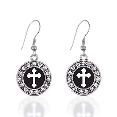 Inspired Silver - Vintage Cross Charm Earrings for Women - Silver Circle Charm French Hook Drop Earrings with Cubic Zirconia Jewelry