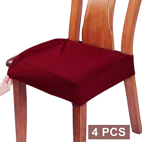 BUYUE Dining Room Chair Covers Washable Jacquard Stretch Seat Cushion Protector for Upholstered Chair Slipcover (Style B,Set of 4, Deep Red)