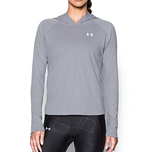 (Under Armour Women's Charged Cotton Tri-Blend T-Shirt Hoodie,True Gray Heather (025)/White, X-Small)