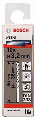 Price comparison product image Bosch 2608595056 Metal Drill Bit Hss-G 3,  2mmx36mmx2.6In 10 Pcs