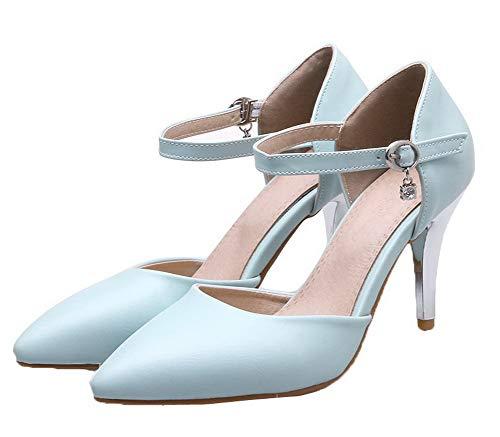 Azzurro Fibbia A AllhqFashion Flats Puro Tacco Donna Ballet Luccichio FBUIDD006456 Spillo IZIq1vxw