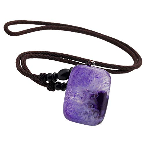 - TUMBEELLUWA Healing Stone Pendant Crystal Necklace Agate Geode Chakra Quartz Power Cord Lucky Amulet Handmade Jewelry for Women Men,Oblong,Dyed Purple