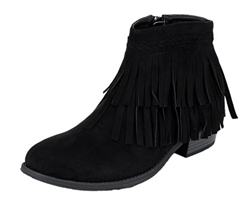 Refresh Womens Tildon-05 Suede Fringe Western Cowgirl Boho Ankle Boot (8 B(M) US, Black) (Fringe Ankle Boot)