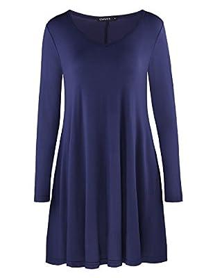 OUGES Women's Casual Short Sleeve Pockets Loose T-Shirt Dress