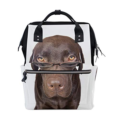 - Dogs Brown Labrador Glasses White Bag Backpack Large Capacity Muti-Function Travel Bag for Mummy Women
