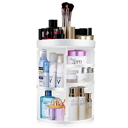 Makeup Organizer, KABB 360-Degree Rotating Adjustable 7 Layers Multi-Function Cosmetic Storage Box with Top Tray, Compact Size with Large Capacity (White-Plus) by KABB