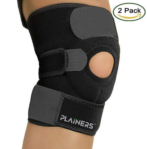 Plainers 2 Pack Knee Brace Support & Patella Stabilizer for Men & Women – Relieves ACL LCL MCL & Arthritis Pain. Perfect for Running Hiking Soccer Basketball Tennis & Squats. with Adjustable Straps