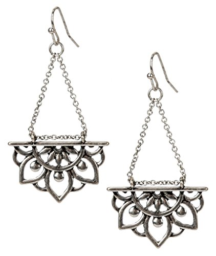 New Beginnings Lotus Flower Antique Silver Boho Chic Tribal Ethnic Fishhook Dangle Earrings for Women and Girls Gift | SPUNKYsoul Collection