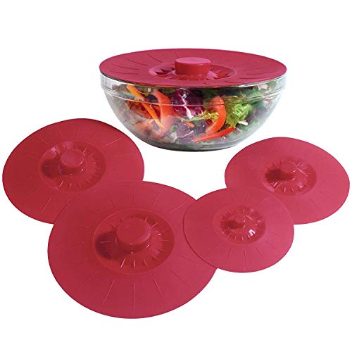 ForShop Silicone Bowl Lids Red