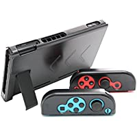 Aluminum Anti-scratch Dustproof Hard Back Protective Case Cover Shells for Nintendo Switch NS Console with Joy-Con Controller (Black)