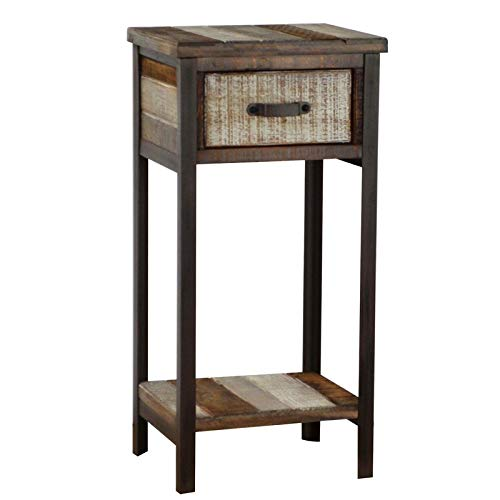 Metal Base End Table with Shelf - Wood End Table with for sale  Delivered anywhere in USA
