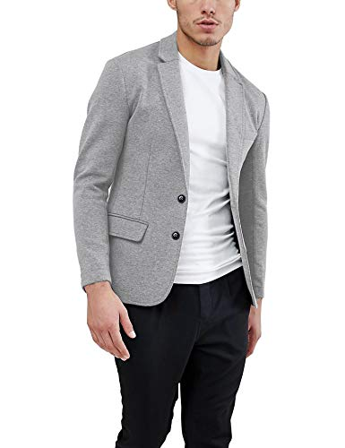 Daupanzees Mens Casual Two Button Suits Lapel Blazer Jacket Lightweight Sport Coat (Gray XS)