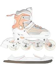 2-in-1 inlineskates/schaatsen Nils Extreme Lucky wit/roze ABEC7 maat 29-33 34-38 39-43 verstelbaar
