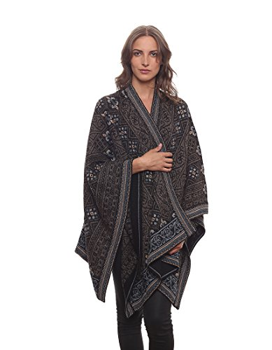 Invisible World Women's Poncho Alpaca Wool 100% Ruana Cape Winter Fall Sarah