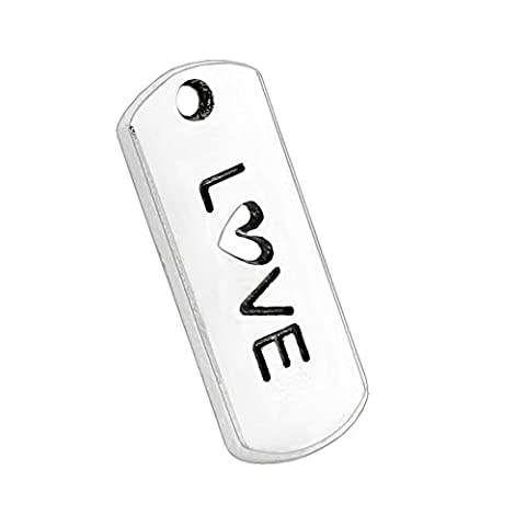 20 Pieces Inspirational LOVE Heart Tag Lucky Charms Findings for Jewelry Pendant Necklace Making 21 X - Heart Charm Jewelry Finding