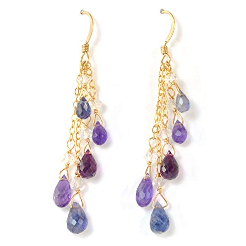 Multi Gemstone Briolette Earrings with Amethyst, Garnet, Iolite, and White Topaz in 14K Gold Fill