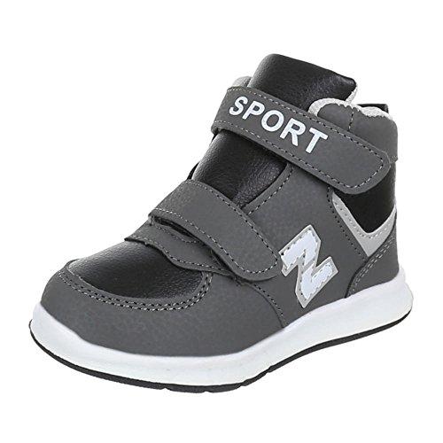 Ital-Design Freizeit Turnschuhe/Sneakers Kinderschuhe Unisex Freizeitschuhe Schwarz Grau