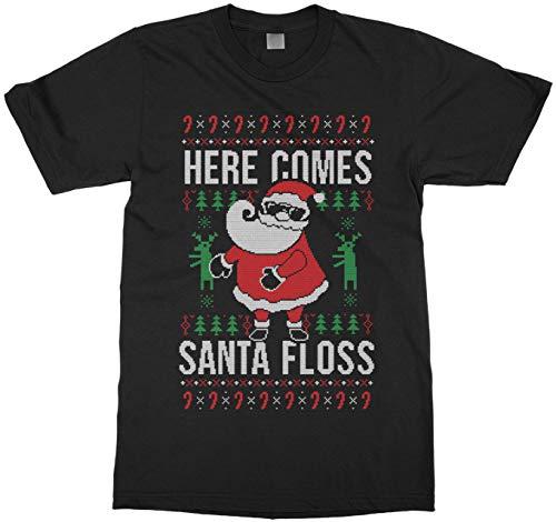 Threadrock Here Comes Santa Floss Ugly Christmas Sweater Kids Youth T-Shirt M Black -