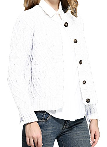 v28 Women Vintage Cotton Cable Knitted Button Long Sleeves Coat Sweater Cardigan (Small, White) (Cardigan Whites Cotton)