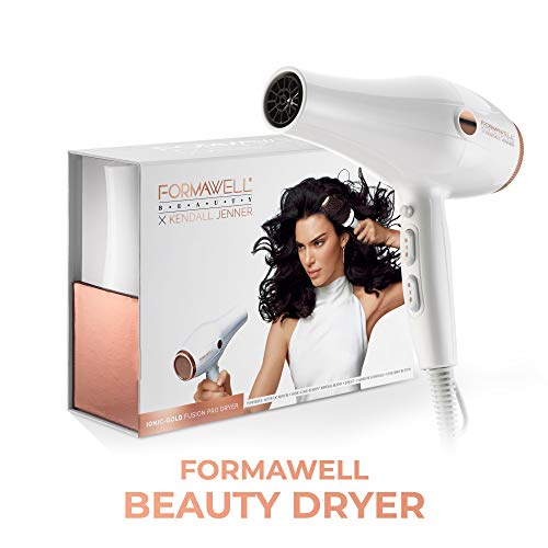 Formawell Beauty x Kendall Jenner Ionic-Gold Fusion Pro Hair Dryer Super-Fast Drying 1875W Motor Negative Ion Conditioning Dual Heat Airflow Controls Cool Shot Power Nozzle, 8ft Cord