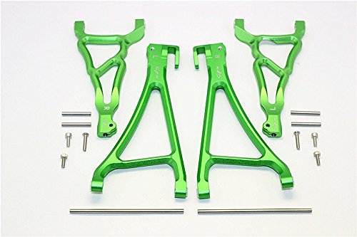 Traxxas E-Revo Brushless Edition Tuning Teile Aluminium Front Upper & Lower Suspension Arm - 4Pcs Set Grün