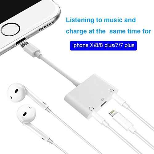 ocamo Lightning a 3.5mm Jack de auriculares adaptador Dual divisor de Lightning Audio y carga para iPhone