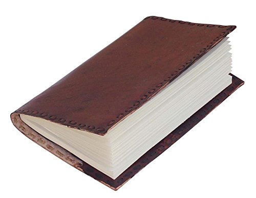 SouvNear Handmade Classic-Look Diary/Journal – Red-Brown Leather Cover with Stab-Stitch Detailing on the Borders – Unique & Artistic