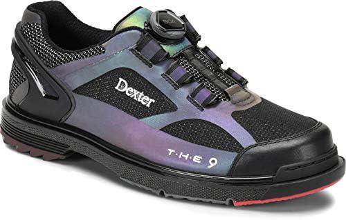 Dexter The 9 HT BOA - Schwarz/Wechselfarben - Bowling-Schuhe Damen und Herren, mit Wechselsohle, BOA Verschlußsystem in den Schuhgrößen 37-46 und Mein-Bowlingshop Schuhtasche im Set