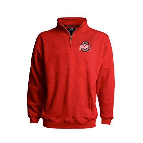 J America NCAA Ohio State Buckeyes Mens Premium 1/4 Zip Pullover Sweatshirt-Classic Red-Large