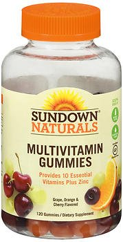 Sundown Naturals Adult Multivitamin with Vitamin D3 Gummies Orange, Cherry and Grape Flavored - 120 ct, Pack of 2 by Sundown Naturals