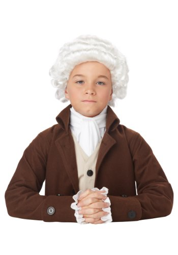 California Costumes Colonial Man Wig Child Costume, -