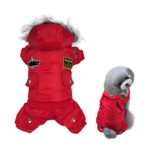 Gimilife USA Pet Air Force Costume, Cotton Warm Coat with Hood Winter Clothes for Puppy or Cat (M: body-9.4